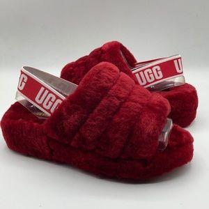 UGG Women's Fluff Yeah Red Ribbon Sheepskin Slide